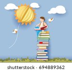 back to school 1 september card ... | Shutterstock .eps vector #694889362