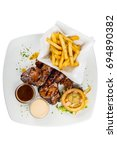 grilled chicken wings  flat lay ... | Shutterstock . vector #694890382