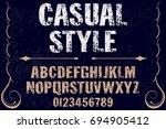 vintage font alphabet... | Shutterstock .eps vector #694905412