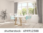 white dinner room with green... | Shutterstock . vector #694912588