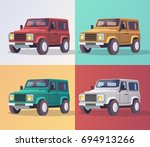 set of vector colorful car on a ... | Shutterstock .eps vector #694913266