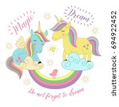 card with unicorns on the... | Shutterstock .eps vector #694922452