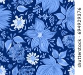 abstract floral seamless... | Shutterstock . vector #694929376