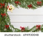 christmas decorations on wooden ... | Shutterstock . vector #694930048