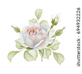Stock photo hand drawn watercolor delicate white rose bouquet 694932226