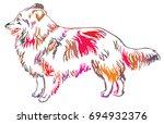 colorful decorative portrait of ... | Shutterstock .eps vector #694932376