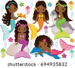 vector set with cute mermaids ... | Shutterstock .eps vector #694935832