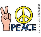 peace pin up and t shirt design | Shutterstock .eps vector #694943932