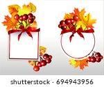 autumn frame.rowan and autumn... | Shutterstock .eps vector #694943956