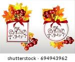 autumn frame.rowan and autumn... | Shutterstock .eps vector #694943962