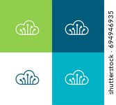 computing cloud green and blue...