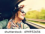 woman feels free and looks out... | Shutterstock . vector #694952656