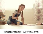 pretty girl with long hair in... | Shutterstock . vector #694953595