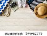 travel tourism objects isolated ... | Shutterstock . vector #694982776