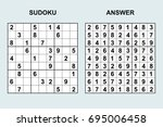 vector sudoku with answer....   Shutterstock .eps vector #695006458