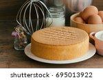 homemade sponge cake on white...   Shutterstock . vector #695013922
