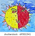 A hand drawing of a bright, happy sun. - stock photo
