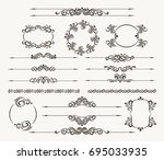 set of calligraphic design... | Shutterstock .eps vector #695033935
