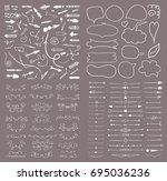 big set of hand drawn design... | Shutterstock .eps vector #695036236