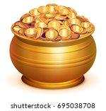gold pot full of gold coins.... | Shutterstock .eps vector #695038708
