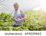 peasant woman holding green... | Shutterstock . vector #695039842