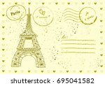 set of hand drawn post stamp...
