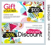 vector gift card and discount... | Shutterstock .eps vector #695043985