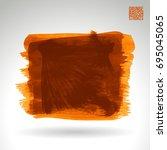 orange brush stroke and texture.... | Shutterstock .eps vector #695045065