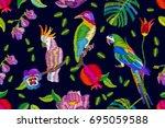 hot tropical summer. seamless... | Shutterstock .eps vector #695059588