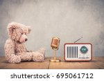 retro teddy bear toy with... | Shutterstock . vector #695061712