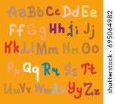 hand drawn alphabet. brush... | Shutterstock . vector #695064982