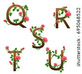 flowers alphabet with red roses. | Shutterstock . vector #695068522