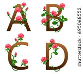 flowers alphabet with red roses.... | Shutterstock .eps vector #695068552