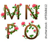 flowers alphabet with red roses. | Shutterstock . vector #695068612
