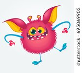cartoon pleased funny monster... | Shutterstock .eps vector #695069902