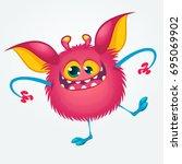 cartoon pleased funny monster... | Shutterstock .eps vector #695069902