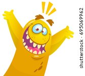 cartoon yellow monster.... | Shutterstock .eps vector #695069962