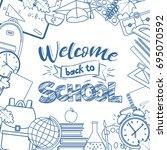 set of different school... | Shutterstock . vector #695070592