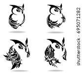 owl set  on white background ... | Shutterstock .eps vector #695071282