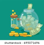 jar with money  save money ... | Shutterstock .eps vector #695071696