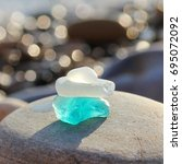 Small photo of Sea shore and sea glass.