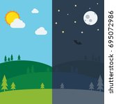 equinox half day half night.... | Shutterstock .eps vector #695072986