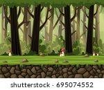 seamless cartoon nature... | Shutterstock .eps vector #695074552