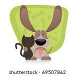 Stock vector cat and dog friends 69507862