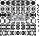 set of 6 vector tribal stripes. ... | Shutterstock .eps vector #695083648