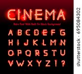 retro cinema font | Shutterstock .eps vector #695084302
