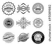 simple mono lines logos... | Shutterstock .eps vector #695089882