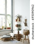 pallet interior home   white... | Shutterstock . vector #695090962
