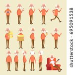 old man character vector set.... | Shutterstock .eps vector #695091538
