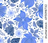 abstract floral seamless... | Shutterstock . vector #695098732